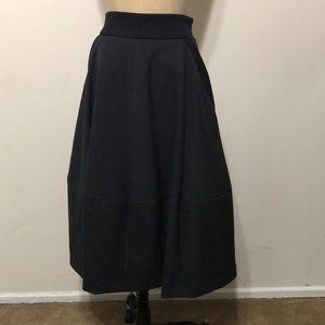 H&m midi black gray full skirt NWT